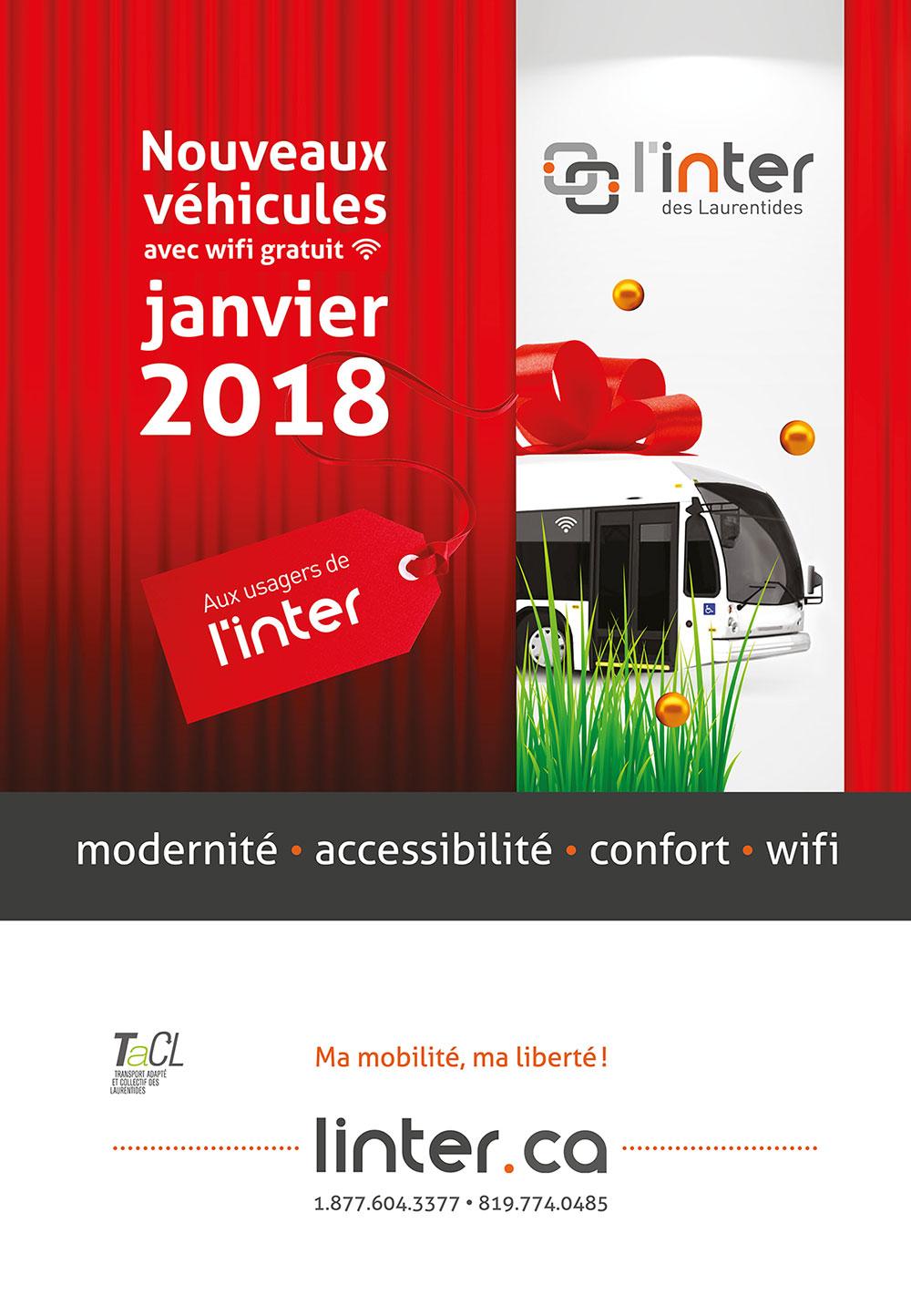 Inter Nouveaux autobus 2018 avec wifi gratuit