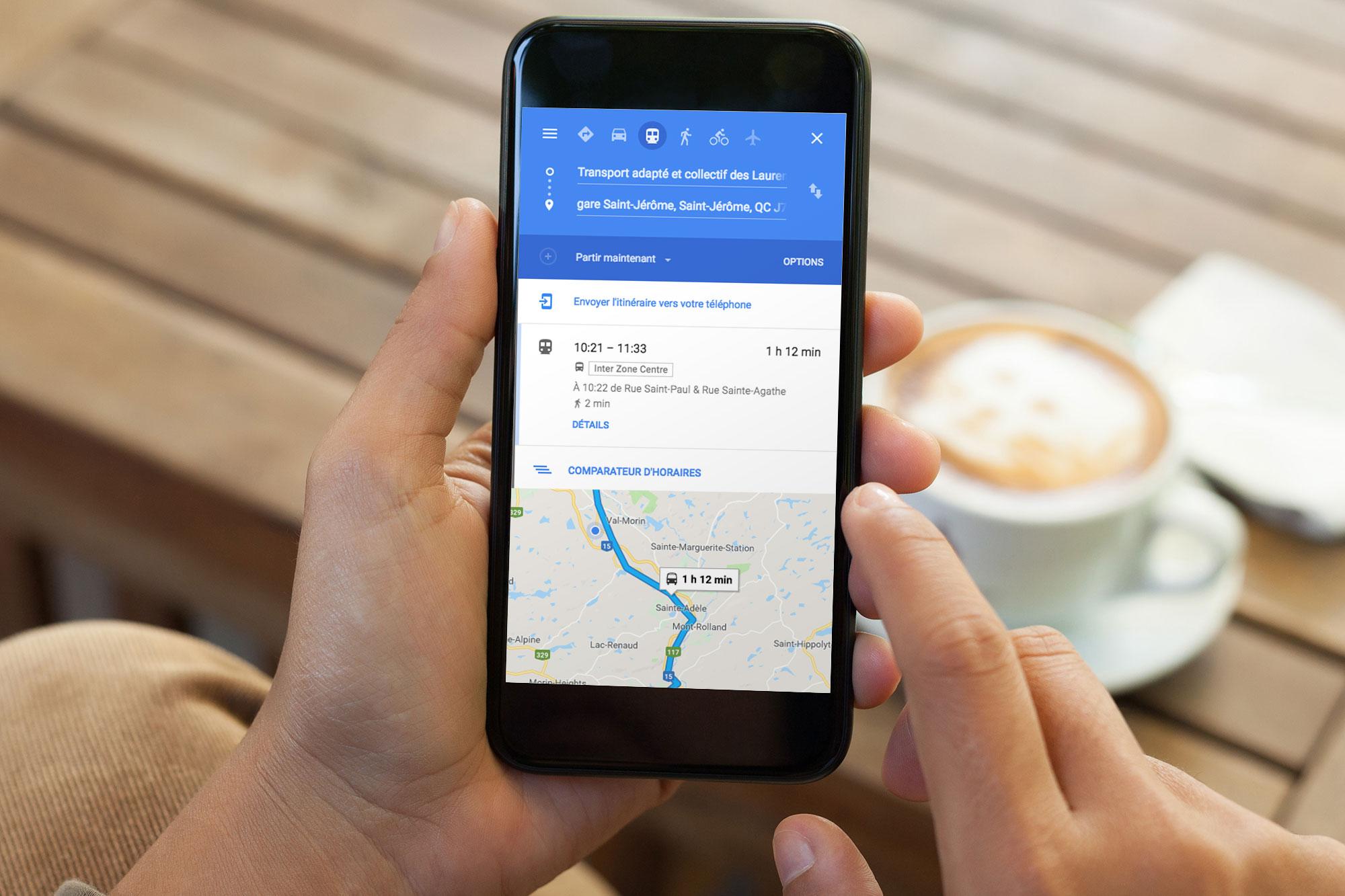 Inter des Laurentides Google transit