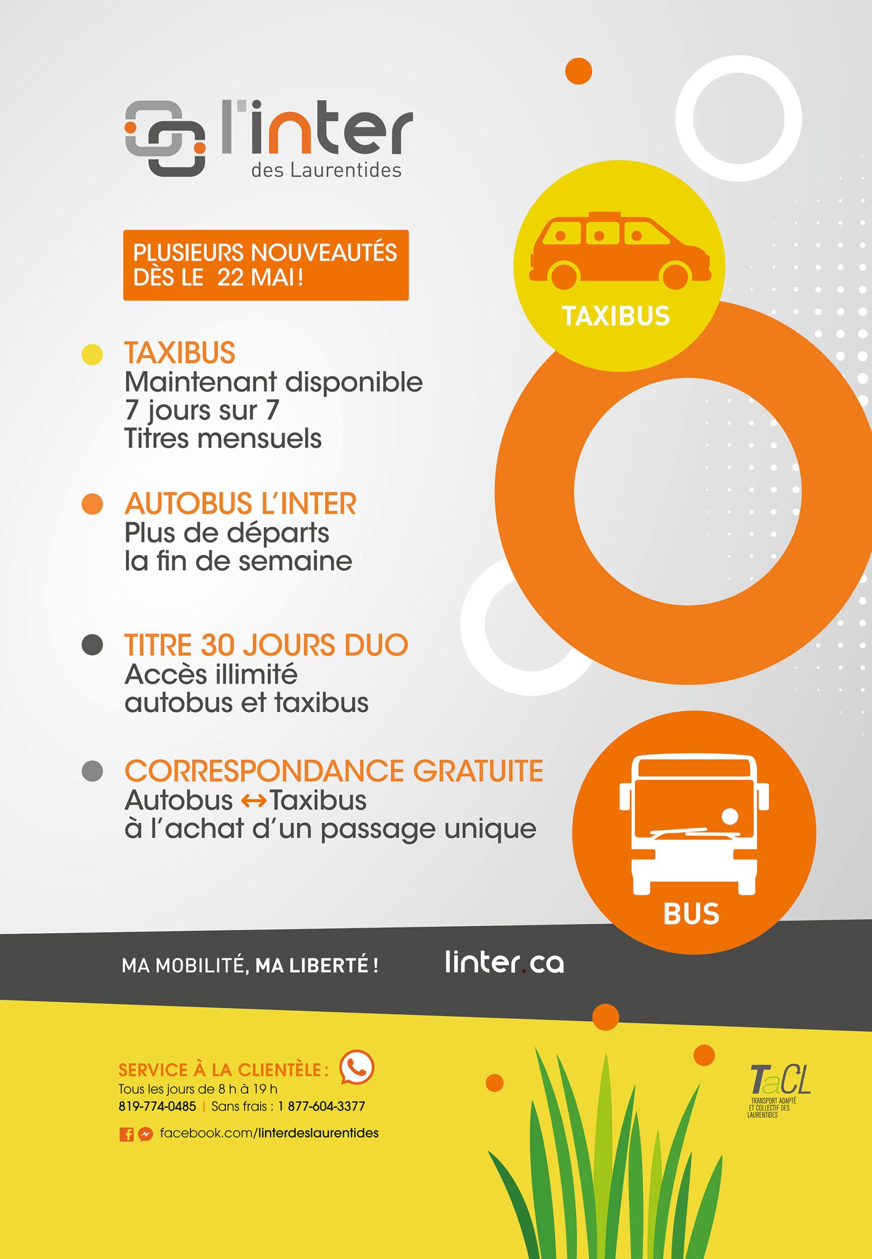 Nouvel horaire Inter et taxibus 22 mai
